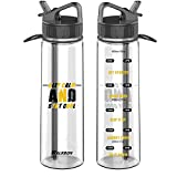 30OZ Motivational Fitness Workout Sports Water Bottle Straw with Time Marker Measurements BPA-Free Tritan, WALKBON