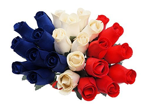2 Dozen Wooden Rose Flowers, Red, White and Blue! ()