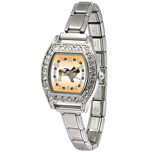 (Timest - Cavalier King Charles Spaniel - CZ Womens Stainless Steel Italian Charms Bracelet Watch BJ1109)