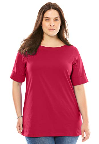 Women's Plus Size Perfect Boatneck Tee with Cuffed Elbow Length Sleeves ,Classic Red,2X