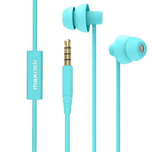 MAXROCK Sleep Earplugs - Noise Isolating Ear Plugs Sleep Earbuds Headphones with Unique Total Soft Silicone Perfect for Insomnia, Side Sleeper, Snoring, Air Travel, Meditation & Relaxation (acid blue) (Ear Buds)
