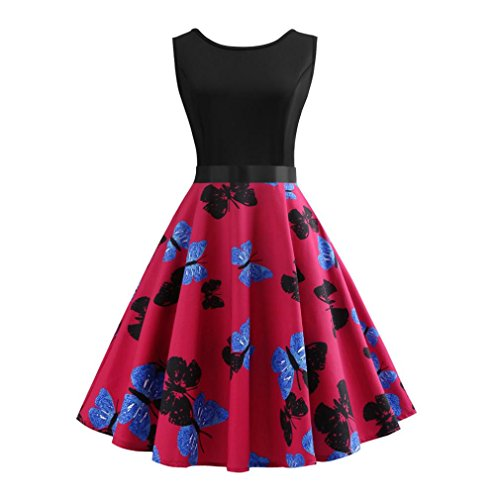 Summer Dress, AgrinTol Women Casual Vintage Printing Bodycon Sleeveless Evening Party Prom Swing Dress (M, Hot Pink)