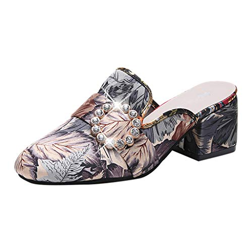 Women Sandals, ❤️ FAPIZI Retro Floral Print Closed Toe Shoes Thick with Mid Heel Home Casual Wild Shoes Sandals Gray