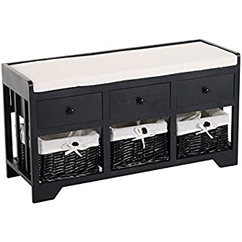 HomCom 3 Drawer 3 Basket Padded Storage Bench   Black/Beige