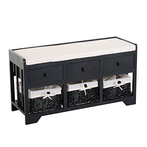 HomCom 3-Drawer 3-Basket Padded Storage Bench - Black/Beige