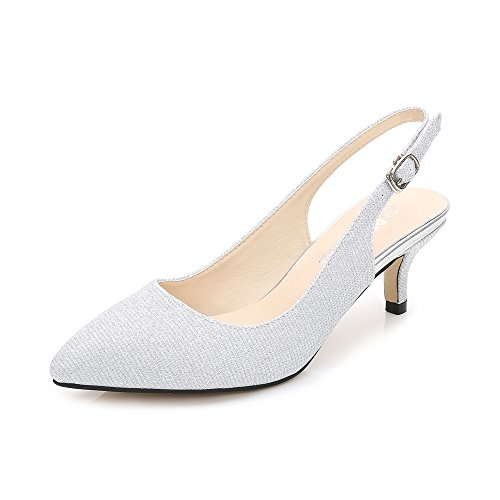 OCHENTA Womens Pointed Toe Slingback Kitten Heel Dress Pump Glitter Silver Tag 41 - US 8.5