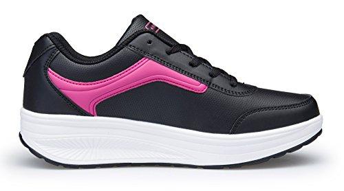 Scarpe Piattaforma Casual Zeppa Outdoor Rosa Tennis KUAIKUHEI Sportive Stringate Fitness Heeled Ginnastica da Running Sneakers Donna Nera AIgx0qY5