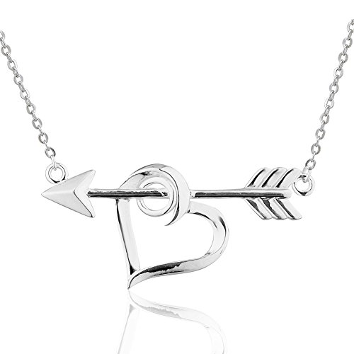 925 Sterling Silver Symbolic Heart w/Bow & Arrow Love Pendant Necklace, Expandable 18-20 inches