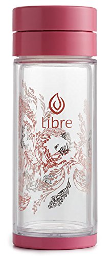Dance Tea (Libre Tea Infuser Bottle with a Durable Glass Interior - Garden Dance Pink 14.3 oz.)