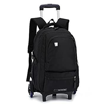 Westtreg niños extraíbles mochilas escolares con 3 ruedas escaleras niños niños niñas mochilas trolley mochila equipaje bolsas de libros, 9117BL: Amazon.es: ...