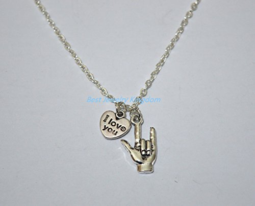 Tiny I Love You, Sign Language Hand Silver Necklace, Sign Language Message best gift Pendant Necklace,Simple Necklace, Everyday Jewelry,charm -