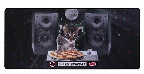Extended Gaming Mouse Pad - DJ Pizza Cat Theme - XXL Extra Large Desk Pad Mouse Pad - Precision Mousing and Water Resistant Surface, 34.5 x 15.75 x 0.12 Inches
