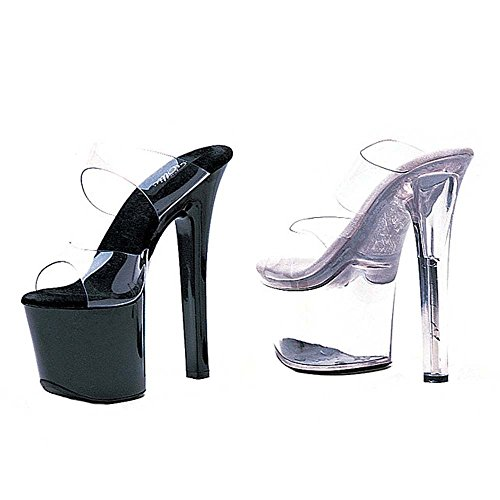 ELLIE Shoes Sexy High Heel 7 Double Strap Platform Sandals 711-COCO Clear Black-5 ts791
