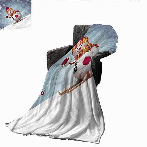 AndyTours Baby Blanket,Snowman,Skiing 3D Style Winter,Super Soft Light Weight Cozy Warm Plush Hypoallergenic Blanket -
