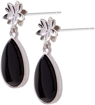 SENCE Copenhagen Rose Ohrstecker Earstuds Black Onyx matt silver L367
