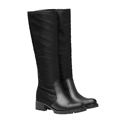 Prada Women's Black Leather Fabric Knee High Boots Shoes - Size: 8 US