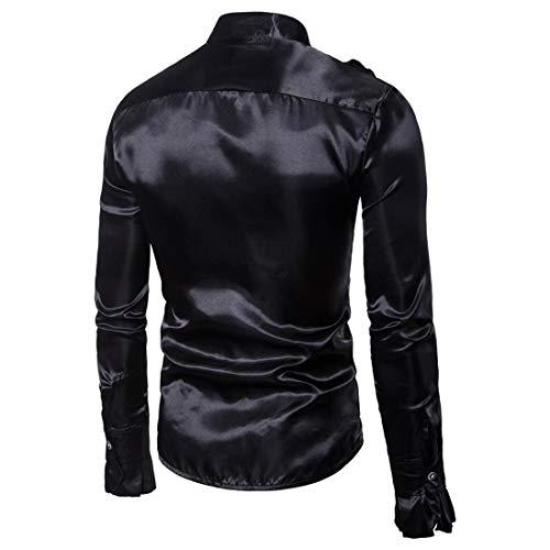 Camicie Nero Solida Casual Uomini Spiccano Bhydry Top Lunga Manica Di Modo Sera Praty Autunno Camicetta Collare wvwpX6Ixq