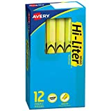 Avery Hi-Liter, Smear Safe Ink, Chisel Tip, Non-Toxic, 12 Pen Style Fluorescent Yellow Highlighters (23591)