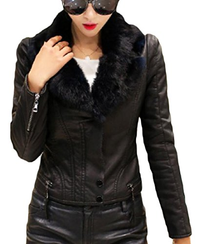 Leather Coat With Fur Collar - 8