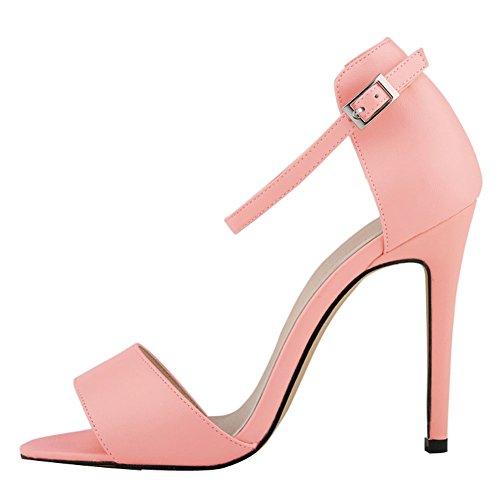 Fereshte Ladies Mujeres Tobillera Correa High Stiletto Heel Office Sandalia 14 Colores Rosa