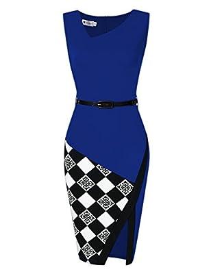 Veryann Women Summer Sleeveless Bodycon Dress Breathable for Business Work