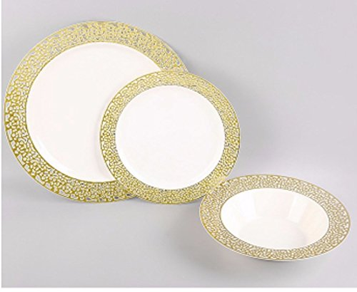 10 inch elegant and disposable ivory party plates trimmed with gold lace - set of 40.  sc 1 st  eBay & Christmas 10 Inch Plastic Plates Trimmed With Gold Lace. Pack Of ...
