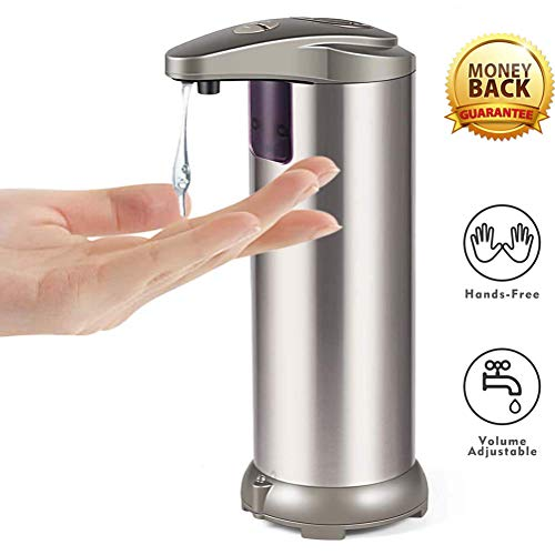 AicLuze Automatic Touchless Liquid Soap Dispenser - Kitchen Soap Dispenser with Waterproof Base, Infrared Motion Sensor Stainless Steel Dish Liquid Hands-Free Auto Soap Dispenser [New Version]