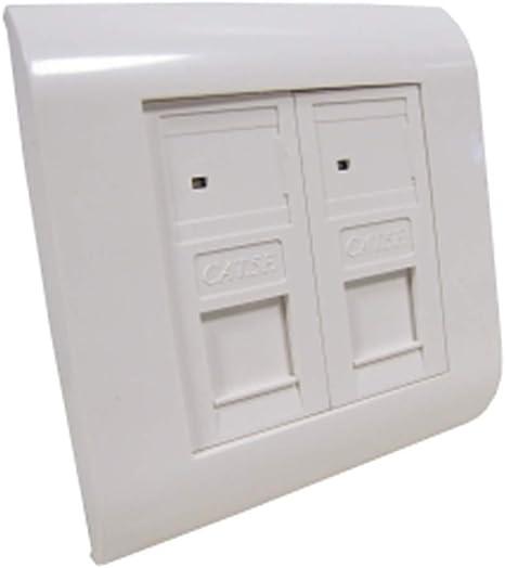 BeMatik - Caja de pared o canaleta de 80x80 con 2 RJ45 FTP Cat.5e 568B: Amazon.es: Informática
