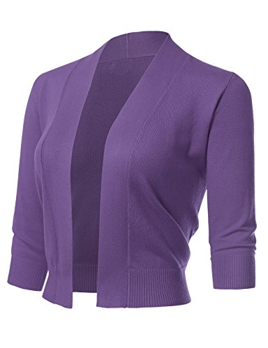 ARC Studio Women's Classic 3/4 Sleeve Open Front Cropped Cardigans (S-XL) XL Ultra Violet