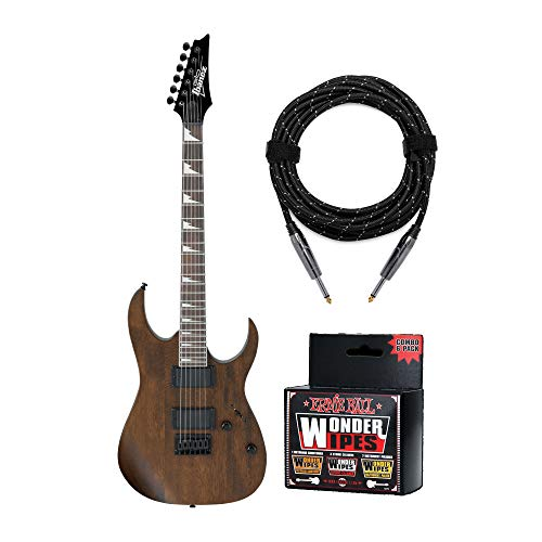 Ibanez GRG121DX 6-String Electric Guitar with Knox Guitar Cable and Wonder Wipes Bundle