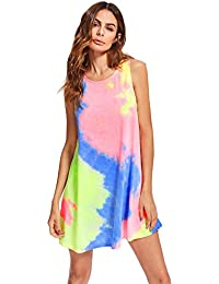 Women's Tie Dye Sleeveless Casual Loose T-Shirt Dress Swing Tunic Top