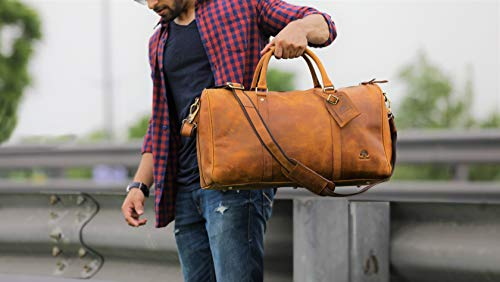 Leather Duffel Bags for Men - Airplane Underseat Carry On Luggage by ... 9b2b6c841ba00