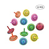 Toys : 12 PCS Handmade Painted Wood Spinning Tops, Kids Novelty Wooden Colorful Gyroscopes Toy, Assorted Standard Tops, Flip Tops, kindergarten education Toys - Great Party Favors, Fun, Gift, Prize