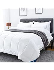 Lucian White Comforter - All Season Down Alternative Comforter, Hotel Quilted Cooling Duvet Insert for Summer Super Soft Lightweight Duvet