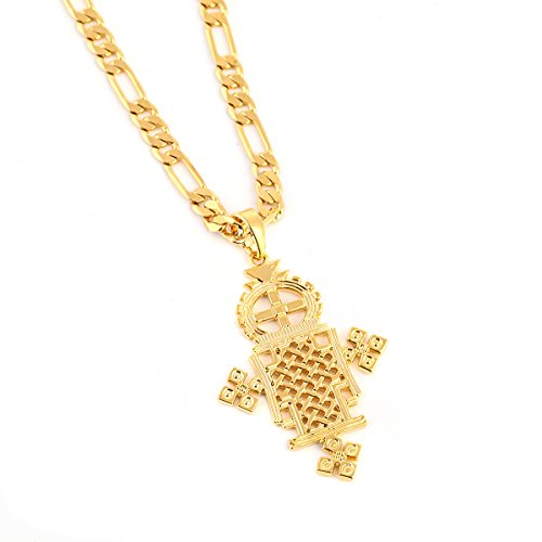 Ethiopian Gold Cross Pendant Necklace 24k Gold Plated Eretrian Coptic Jewelry Crosses African