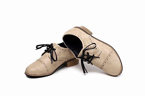 Carolbar Donna Stringate Cuciture A Contrasto Moda Vintage Colori Assortiti Retro Scarpe Oxford Tacco Basso Beige