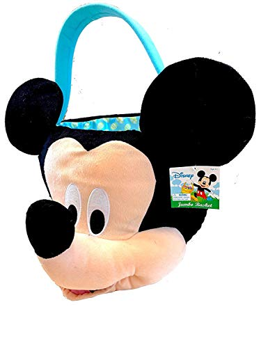 Mickey Easter Basket (Jumbo Mickey Mouse Plush Gift Basket Bucket for Birthdays, Easter, Halloween, Christmas,)