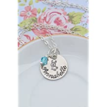 Bunny Necklace - DII ABC - Easter Basket Gift - Rabbit Personalized Jewelry - Pet Spring Peter - Rodent Name - 5/8 Inch 15 MM Silver Handstamped Disc