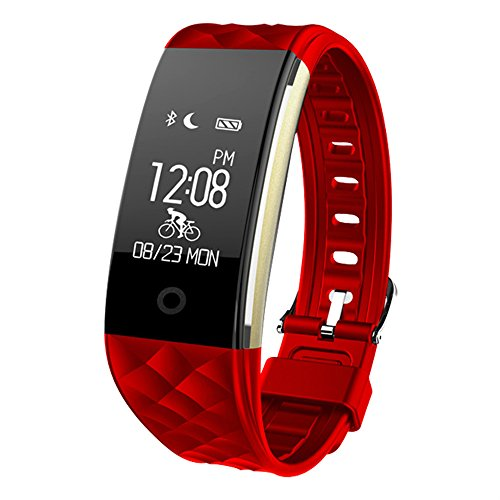 Waterproof OLED Touch Screen Smart Watch Band with Sleep Monitor,Activity Trackers Pedometer Wristband Fitness Tracker compatible with Android IOS Smartphones (Red)