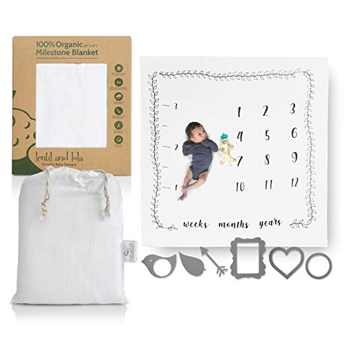 Monthly Milestone Blanket | 100% Organic Muslin Blanket |6 Photo Props + Carry Bag - Monthly Blanket for Baby Pictures - Milestone Blanket for Infants (Baby Lola)