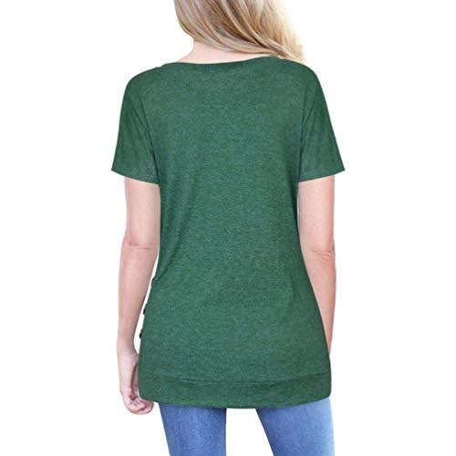 Woman shirt T Zhrui à Taille Vert courtes boutonné XL couleur manches Femme 4RwdEWqcw