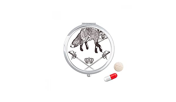 Amazon.com: Fox Sword Crown Animal Baroque Style Travel Pocket Pill case Medicine Drug Storage Box Dispenser Mirror Gift: Health & Personal Care