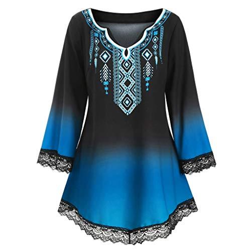 Women Gradient Color V-Neck Flared Sleeve Vintage Cocktail Party Dresses A-Line Dress Loose Lace Top Blouse Shirt Blue (4 On 4 Off Shift Pattern Calendar)