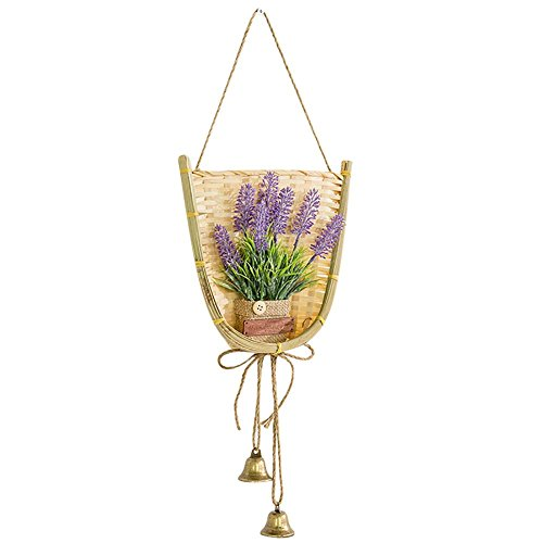 - Bamboo Woven Wall Mounted Hanging Flower Basket with Artificial Flower, Wall Art Decoration Hanging Planter, Perfect for Indoor Outdoor Garden Decoration
