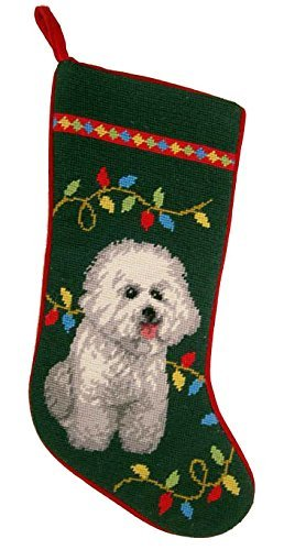 Holiday Lights Bichon Frise Dog Needlepoint Christmas Stocking by ED