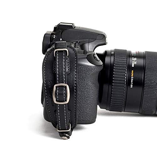 Herringbone Heritage Leather Camera Hand Grip Type 1 Hand Strap for DSLR with Multi Plate, Black