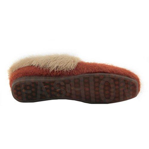 ENMAYER Damen Suede Low Wedge Mandel Toe Boots Wohnungen mit warmen Fell Grau5