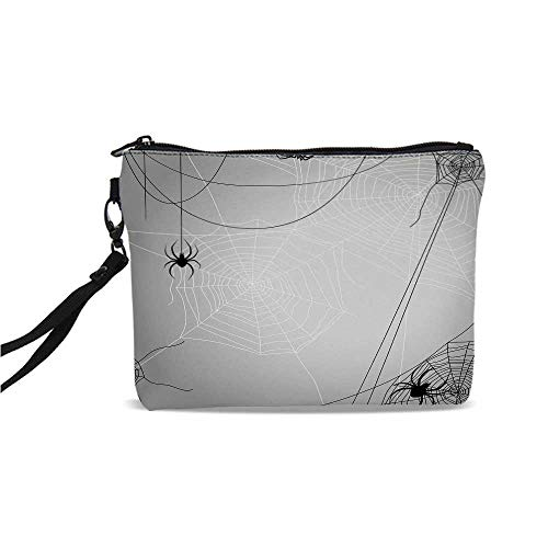 (Spider Web Simple Cosmetic Bag,Spiders Hanging from Webs Halloween Inspired Design Dangerous Cartoon Icon Decorative for Women,9