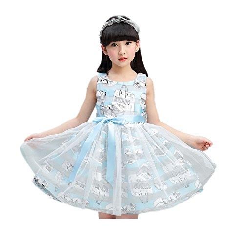 FTSUCQ Girls Organza Cute Cartoon Printed Princess Dress,Blue 130 (Cute 11 Year Old Guys)