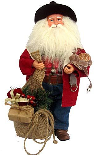 Santa's Workshop Red Leather Cowboy Santa Figurine, 15